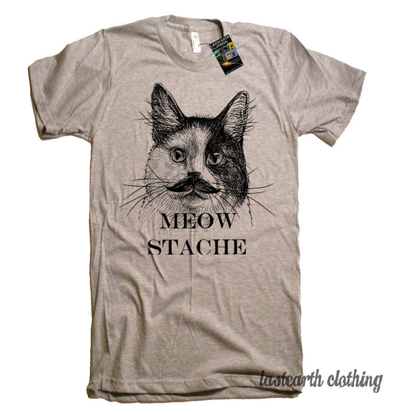 Cat Meow Stache Tshirt - Funny Cat T Shirt - American Apparel T-Shirt