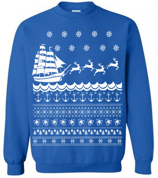 Nautical Christmas Ugly Sweater Fleece Pullover Mens Sweater Womens Sweatshirt Pirate Ship Reindeers Funny Holiday Sweater Christmas Gifts
