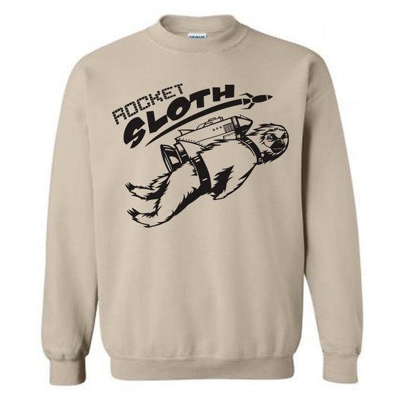 Rocket SLOTH Sweater Fleece Pullover Classic Sweatshirt - S M L Xl 2X