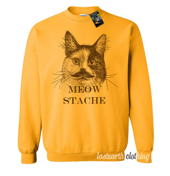 Cat Meow Stache Sweater Fleece Pullover Sweatshirt - S M L Xl 2X (Color Options)