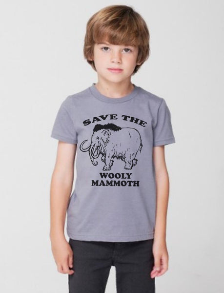 Kids Save The Woolly Mammoth T-Shirt / American Apparel T shirt / Sizes 4 6 8 10 and 12