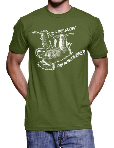 Mens Sloth Funny T-Shirt Live Slow Die Whenever - American Apparel Tee - S M L Xl Xxl