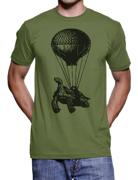 Turtle On A Hot Air Balloon T Shirt - Birthday Tee Shirt - Gifts for Him Gift Ideas Present - Men Husband Dad Boyfriend Valentines Day Gifts