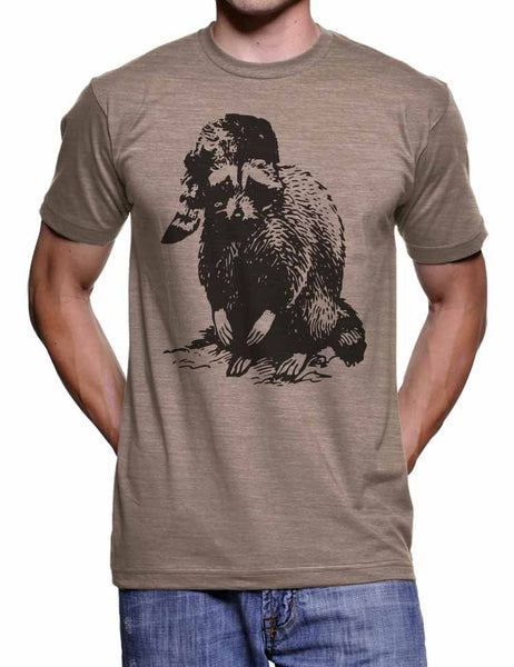 Bad Raccoon T Shirt Animal Illustration Graphic Funny Tees Camping Gifts Mens Camp Tshirts Raccoon in a Hat Woodland Shirt Winter T Shirt