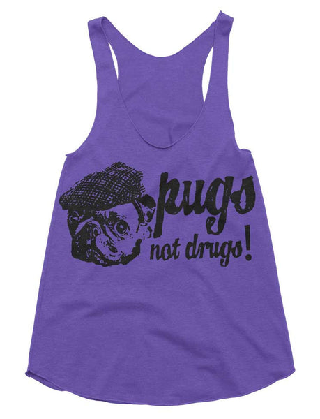 Pugs Not Drugs Tri-Blend Racerback Tank - American Apparel Tanktop - XS S M L (Color Options)
