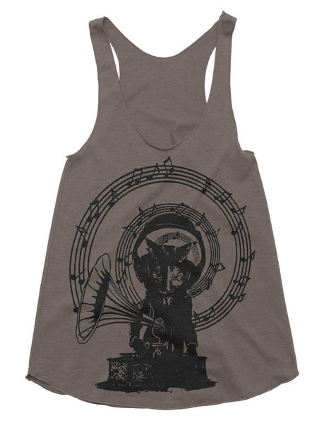Music Cat Record Player Tri-Blend Racerback Tank - American Apparel Tanktop - XS S M L (Color Options)