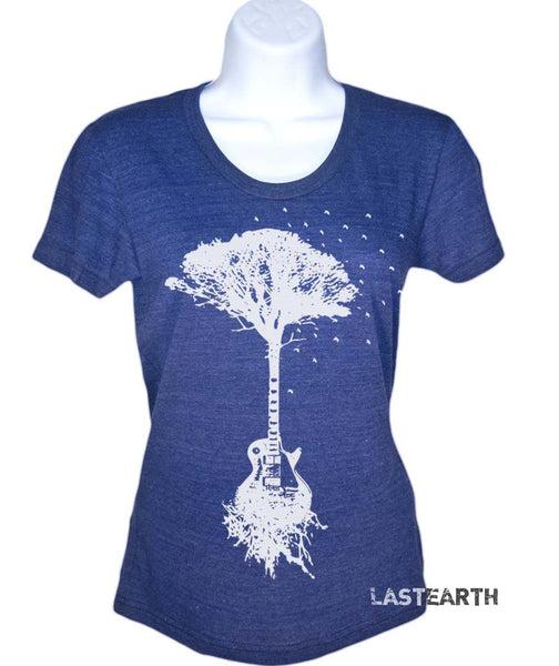 Guitar Tree T Shirt Music T-Shirts Womens Tshirts Gifts For Her Guitar Player Birds Tshirt Ladies Tees Musical Gifts For Wife Girlfriend