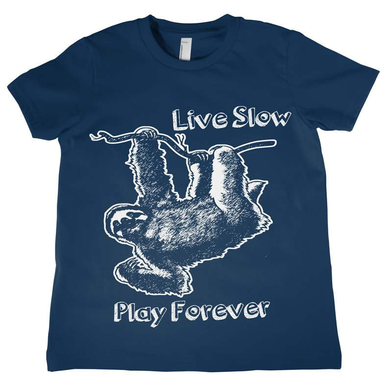 Kids Sloth Live Slow Play Forever T Shirt Unisex Tee Funny Tees Birthday Shirts Boys Girls
