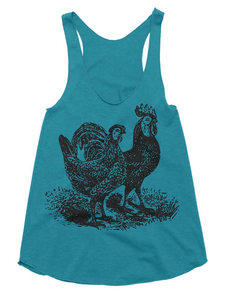 Womens Rooster And Hen Workout Tank