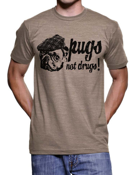 Pugs Not Drugs T Shirt Funny Pugs Tshirts Pug in a Hat Tees Mens Pug T-Shirts Pug Gifts Birthdays Geek Shirts Dog Lovers Womens Tshirts