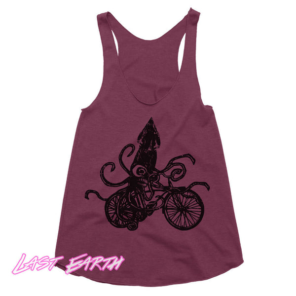 Squid on a Bike Workout Tank Funny Tanktop Racerback Tank Beach Tank Gifts For Her Bicycle Tank Run Tank Womens Tank Girls Running Tank