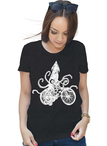 Womens Squid on a Bike T-Shirt - Squid T Shirt - Bike Shirt - Bicycle T Shirt Gifts For Bicyclists Ladies T Shirt Tentacles Shirt
