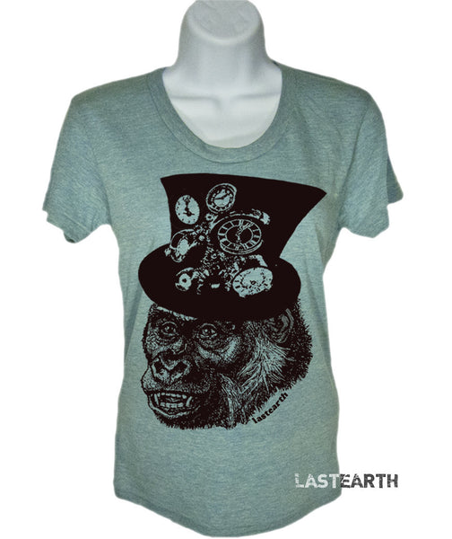 Womens Short Sleeve T-Shirt - Steampunk Gorilla Tshirt - Clock Shirt - Geeky Tech Tee - Birthday Gift - Gift For Her - S M L Xl 2X
