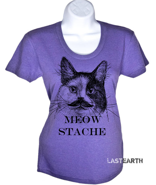 Women's Cat Stache T-Shirt - Cat Tshirt - Mustache Tee - Gift For Her - Crazy Cat Lady Shirt - Funny Cat Shirts - Meow Stache Top - S-2X