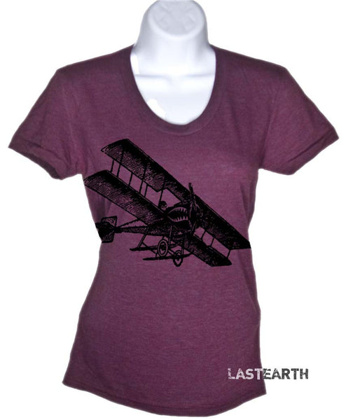 Womens Short Sleeve T-Shirt - Vintage Airplane Tshirt - War Plane Shirt - Fourth of July Tee - S M L Xl 2X
