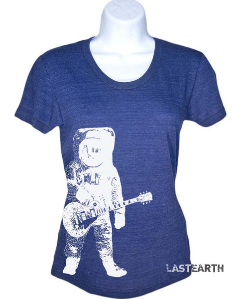 Womens Rockin Astronaut T-Shirt - Man on The Moon Shirt - Space Tshirt - Guitar T Shirt - Gift For Her - Women's Plus Size - S M L Xl 2X