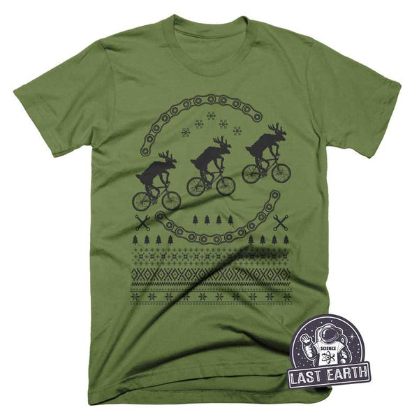 Reindeer On Bikes T Shirt Christmas Funny Bike Tees