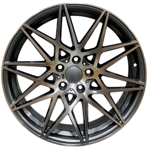 20 Inch Staggered Rims Gunmetal Machined 666 Style Wheels