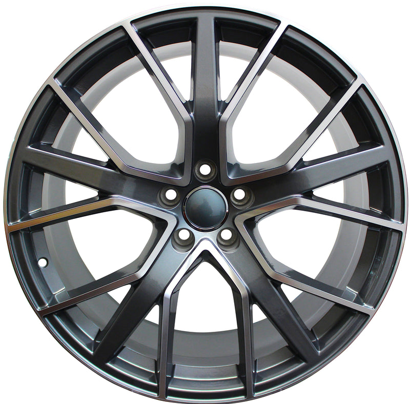 21 INCH WHEELS AUDI S LINE  Q5 Q6 Q7 S5 S6 A5 A6 A7 GUNMETAL MACHINED RIMS S8 STYLE