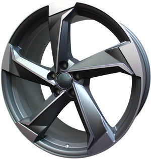 21 Inch Audi Rims A4 A5 A6 A7 A8 S4 S5 S6 S7 S8 RS5 RS6 RS7 Q5 Q7 SQ5 SQ7 Gunmetal Machined Wheels