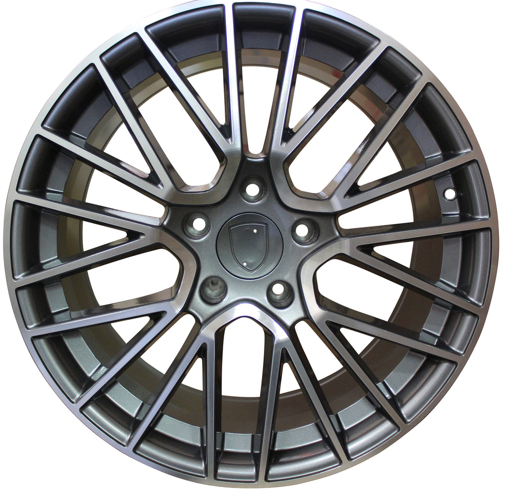 20 Inch Rims Fits Porsche Cayenne Turbo S GTS Base Gunmetal Machined Spyder Mesh Wheels - Concept Wheels