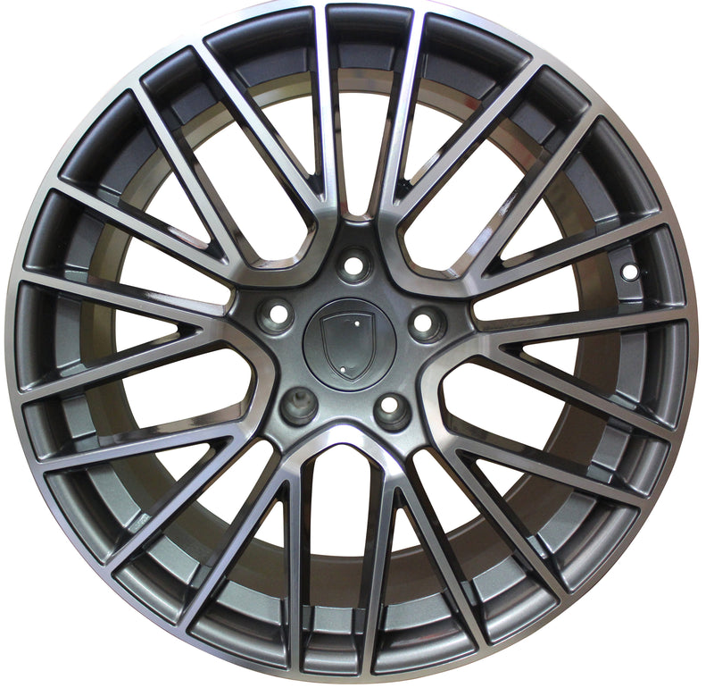 20 Inch Rims Fits Porsche Cayenne Turbo S GTS Base Gunmetal Machined Spyder Mesh Wheels