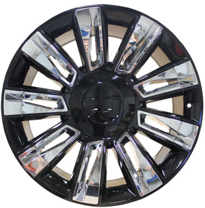 22 INCH RIMS ESCALADE SUV & ESV PLATINUM BLACK CHROME INSERTS SIERRA TAHOE YUKON WHEELS