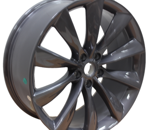 21x8.5 Tesla Model S Model Y Gloss Gunmetal Twist Spoke Style Wheels