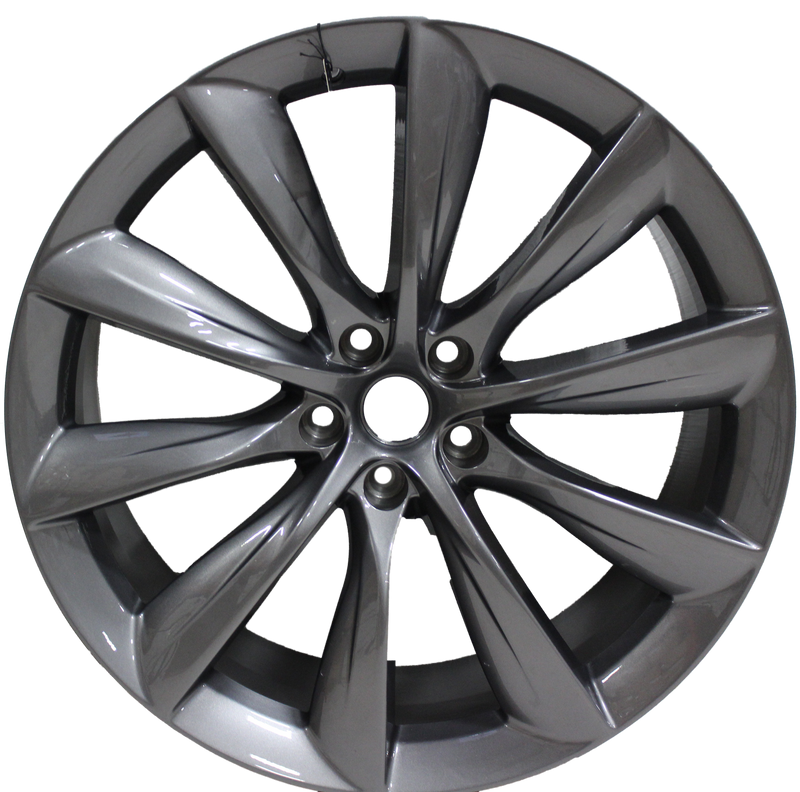 22x9/10 Staggered Tesla Model S Model X Gloss Gunmetal Updated Twist Spoke Style Wheels