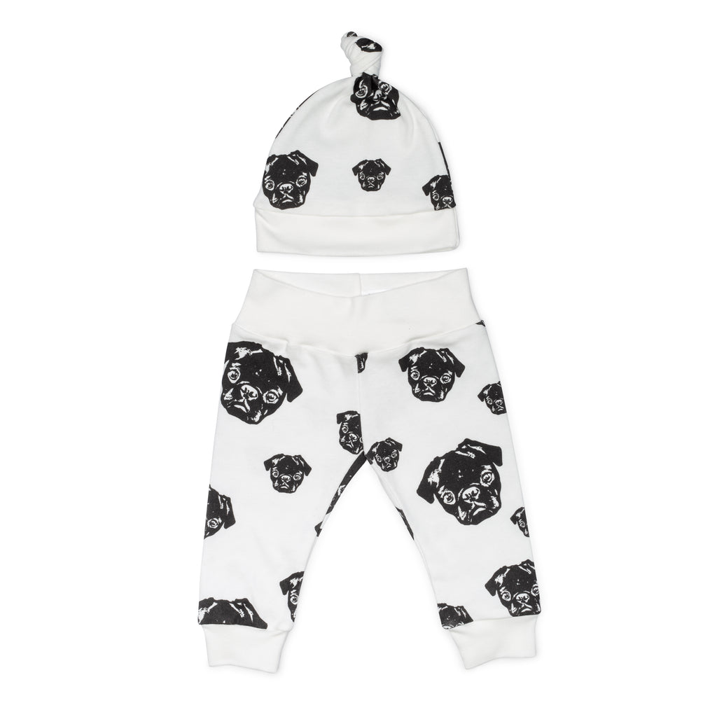 MONOFACES Newborn Hat and Legging Set - The Black Pug