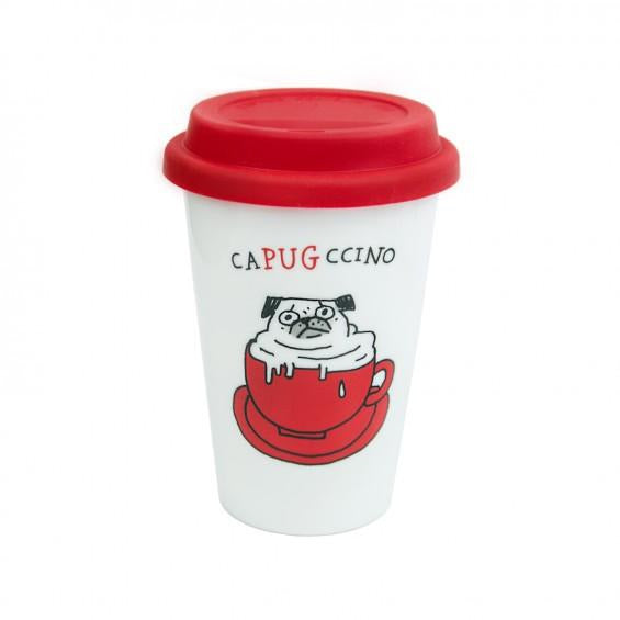 Gemma Correll Capugccino Travel Mug - The Black Pug