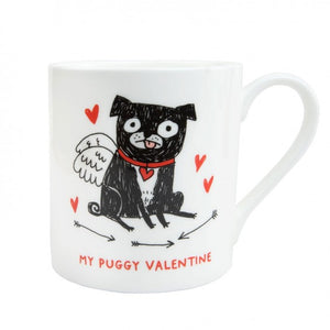 Gemma Correll My Puggy Valentine Mug - The Black Pug