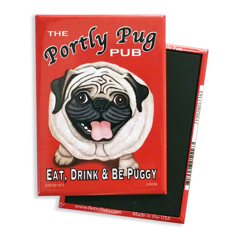 Retro Pets Magnet - The Portly Pug Pub - The Black Pug