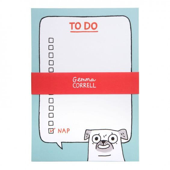 Gemma Correll Pug To Do Notepad - The Black Pug