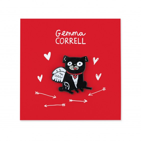 Gemma Correll My Puggy Valentine Pin - The Black Pug