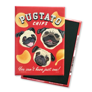Retro Pets Magnet - Pugtato Chips - The Black Pug