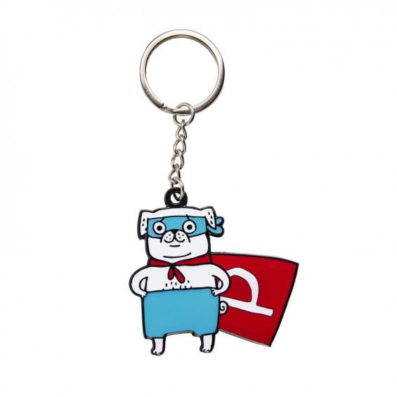 Gemma Correll Superpug Key Ring - The Black Pug
