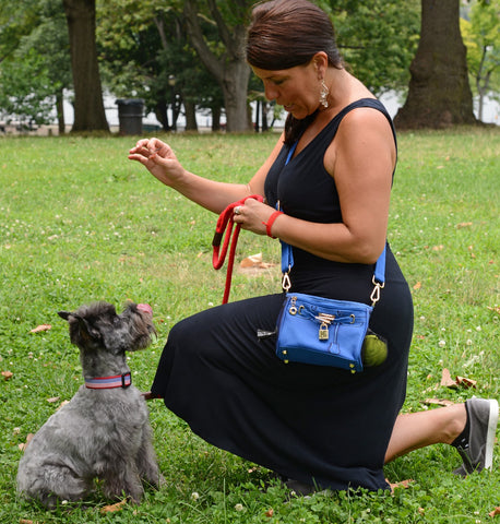 Woman Plays with dog