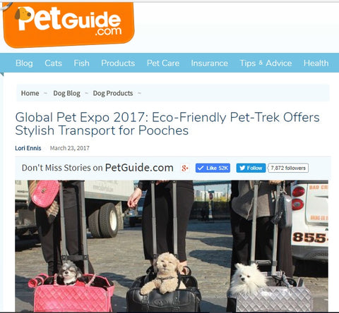 Global Pet Expo 2017 Eco-Friendly Pet-Trek Offers Stylish Transport for Pooches