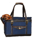 Denim pet carrier with dachshund inside