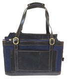 Pippa denim pet carrier side view