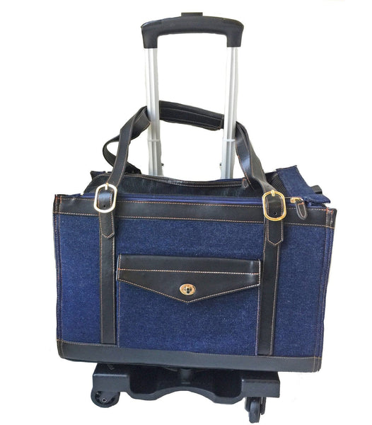 Denim pet carrier on Pet-Trek 4 wheel dolly