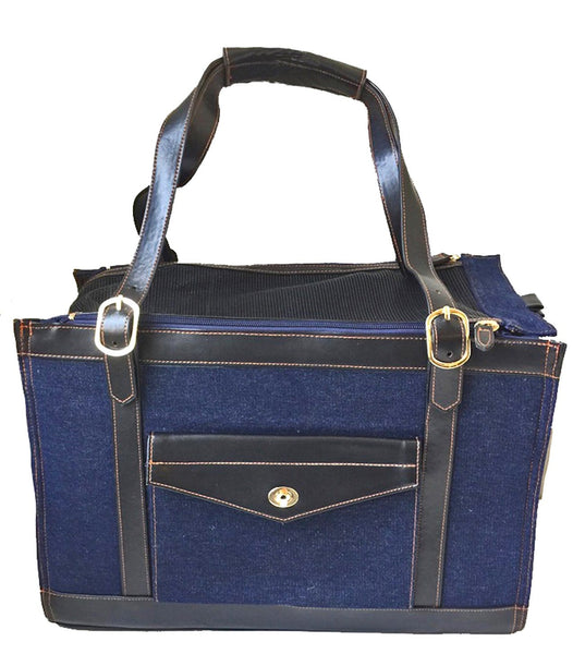 Denim pet carrier for dogs and cats