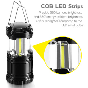 350 Lumen COB LED Collapsible Lantern Lights - Assorted Colors