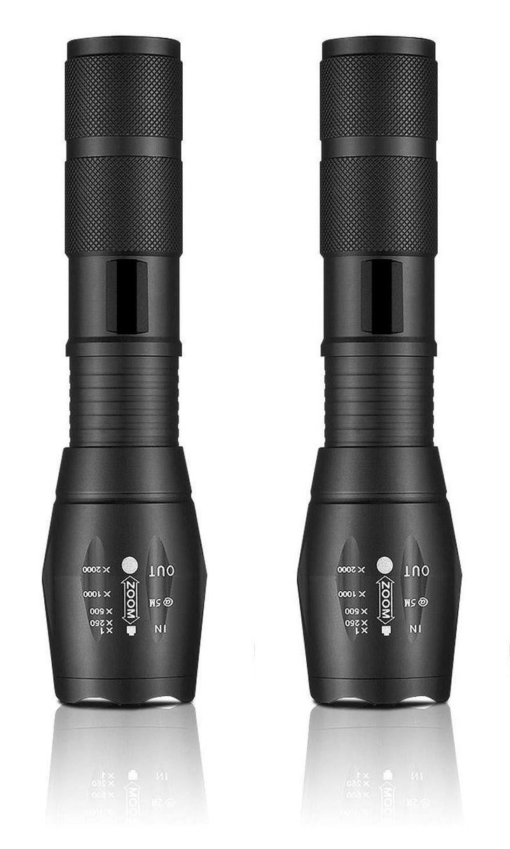300 Lumen LED Tactical Flashlight - 2 Pack