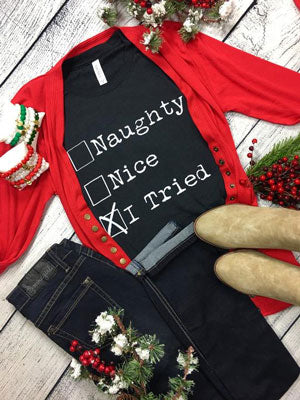 naughty and nice Christmas graphic tee