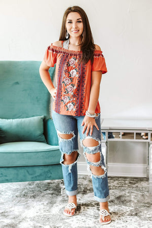 Glitzy Girlz Boutique A Different Rose Top, Rust