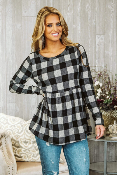 Glitzy Girlz Boutique All Checked Out Top, Black