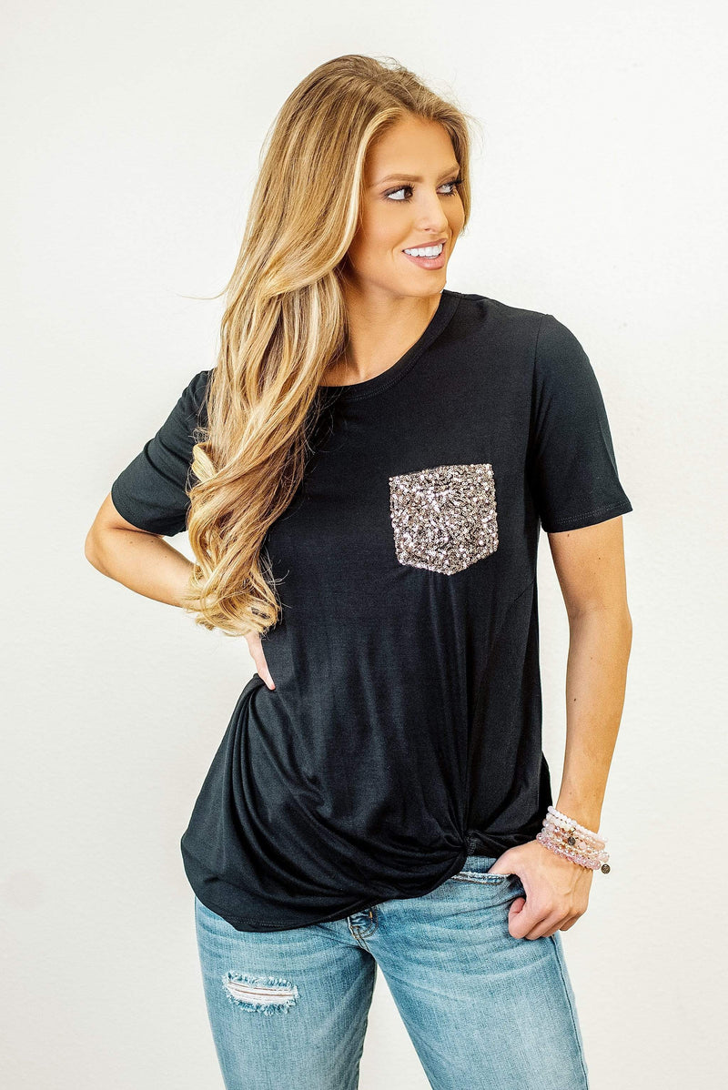 Glitzy Girlz Boutique All Day Long Top, Black