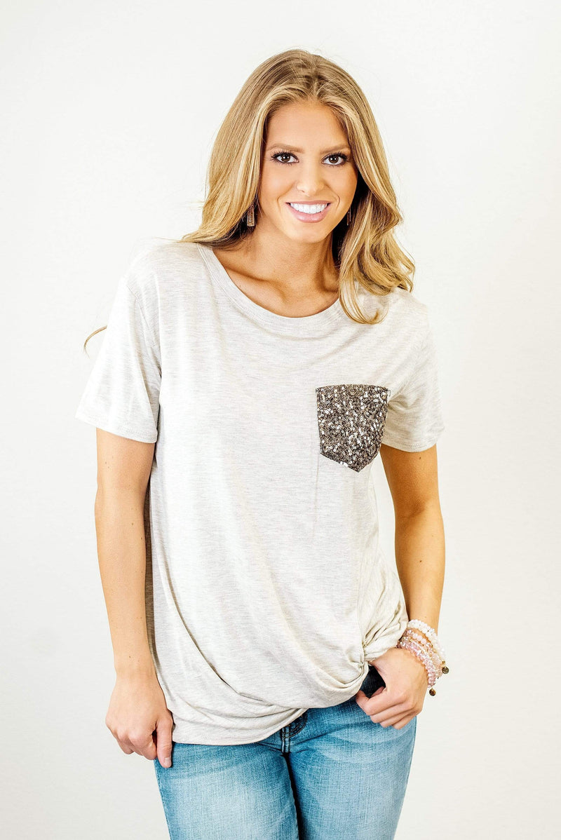 Glitzy Girlz Boutique All Day Long Top, Oatmeal